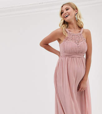 Little Mistress Maternity embellished top maxi dress in pink