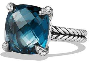 David Yurman Châtelaine Ring with Hampton Blue Topaz and Diamonds