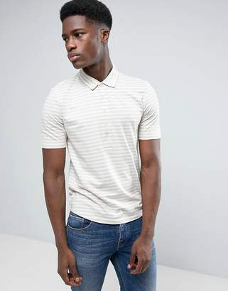 Selected Polo Shirt with Stripe and Long Placket Detail and Curved Hem