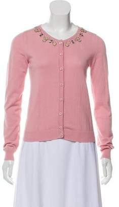 Blumarine Embellished Rib Knit Cardigan