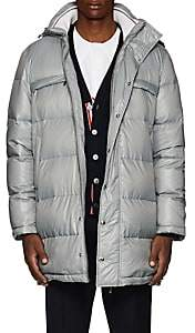 Thom Browne Men's Striped Down Hooded Puffer Coat-Gray