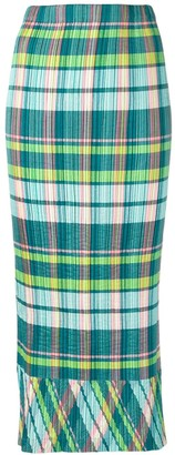 Issey Miyake Pre-Owned plissé Madras check skirt