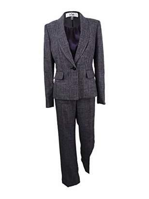 Le Suit Women's Plaid Melange 1 Button Pant Suit with Cami
