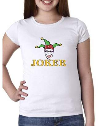 Hollywood Thread Playing Card Joker with Colorful Jester Hat - Large Print Girl's Cotton Youth T-Shirt