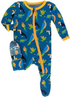 Kickee Pants Baby Boy's Twilight Tropical Birds Footie