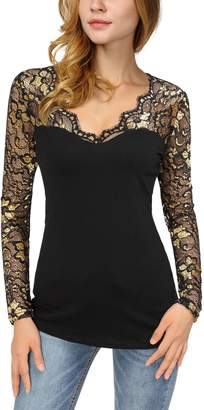DJT Women's V-Neck Floral Lace Overlay Lined Long Sleeve Top L