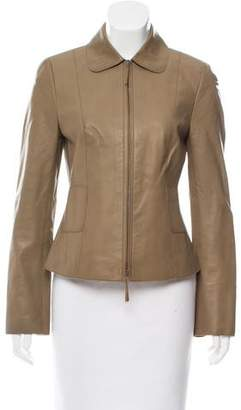Akris Punto Zip-Up Leather Jacket