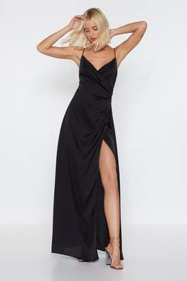 Nasty Gal Satin Wrap Dress Maxi