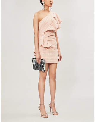 Alexandre Vauthier One-shoulder ruffled wool-blend tweed mini dress