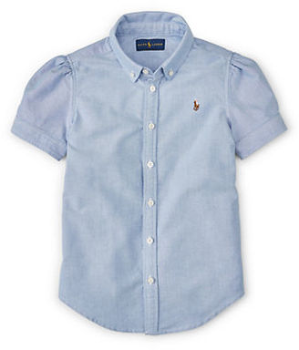 Ralph Lauren Childrenswear Girls 7-16 Short Sleeve Oxford Shirt $39.50 thestylecure.com