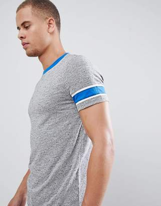 Asos DESIGN t-shirt with contrast neck and sleeve panels in interest fabric
