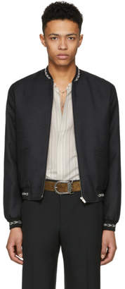 Saint Laurent Black Ikat Varsity Jacket