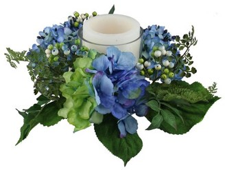 """Select Artificials 16"""" Decorative Artificial Blue and Green Hydrangea and Berry Hurricane Glass Candle Holder"""