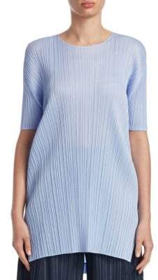 Pleats Please Issey Miyake June Short Sleeve Linear Pleat Top