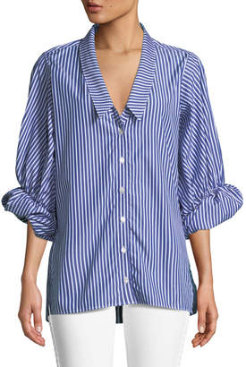 Victoria / Tomas Striped Button-Down Blouse with Rolled Sleeves