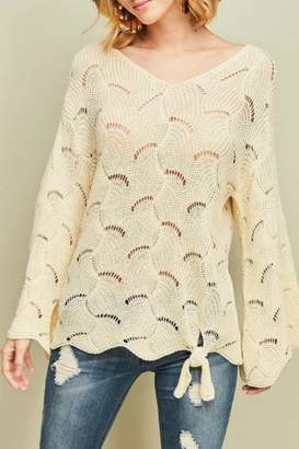 Entro Open-Knit Tie-Front Sweater