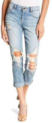 Eunina Denim Mia Destroyed Mid Rise Relaxed Fit Cropped Skinny Jeans (Juniors)