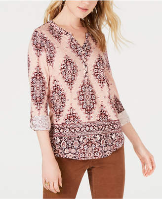 Style&Co. Style & Co Petite Printed Roll-Tab Sleeve Top, Created for Macy's
