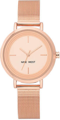 Nine West Women's Rose Gold-Tone Stainless Steel Mesh Bracelet Watch 34mm