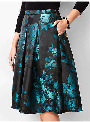 Talbots Painted Floral Pleated Fit & Flare Skirt