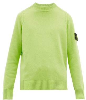 Stone Island Logo Patch Cable Knit Wool Blend Sweater - Mens - Green