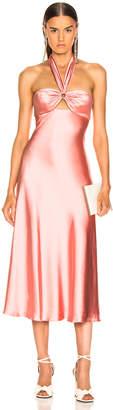 Jonathan Simkhai Structured Sateen Halter Slip Dress in Rosette | FWRD