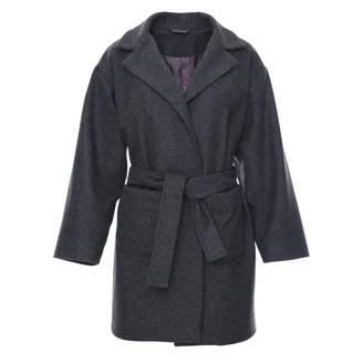 Zalinah White Petite Boyfriend Coat in Grey British Wool