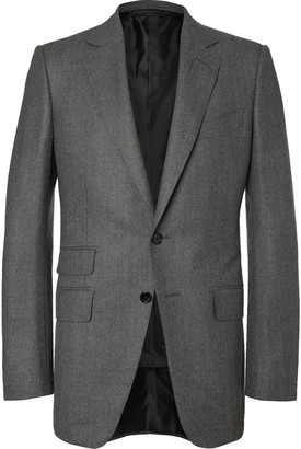 TOM FORD Grey O'Connor Slim-Fit Birdseye Wool and Silk-Blend Flannel Suit Jacket $3,625 thestylecure.com