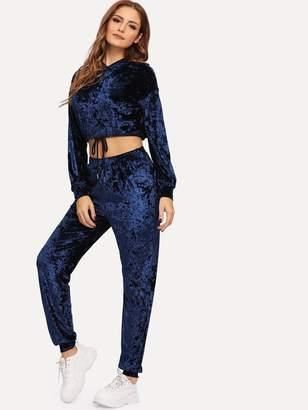 Shein Solid Crop Velvet Hoodie and Pants Set