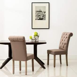 AC Pacific Natalie Roll Top Tufted Brown Linen Fabric Modern Dining Chair (Set of 2)