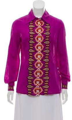 Tory Burch Long Sleeve Embroidered Blouse