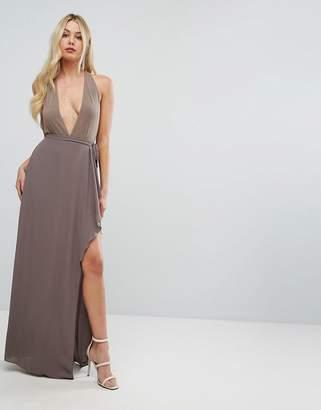 BCBGMAXAZRIA Plunge Ruffle Maxi Dress