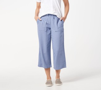 Denim & Co. Linen Blend Pull-On Crop Pants with Pockets