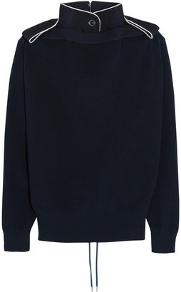 Sacai - Lace-up Twill-trimmed Cotton Sweater - Navy $700 thestylecure.com