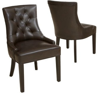 Hatch Noble House Tufted Brown Leather Dining Chair (Set of 2)