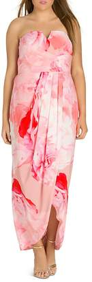 City Chic Plus Girly Rose Strapless Maxi Dress