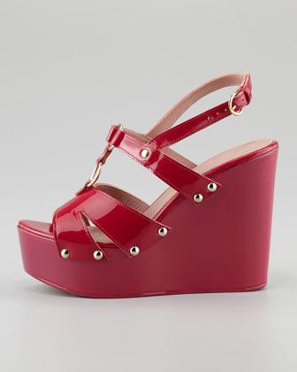 RED Valentino Patent Leather Slingback Platform Wedge, Cherry