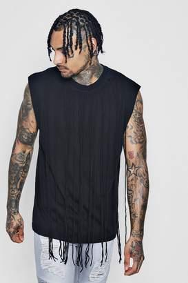 boohoo Tank T-Shirt With Fringing