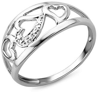 N. Miore 9ct White Gold Diamond Set Heart Ring SA977R - Size M