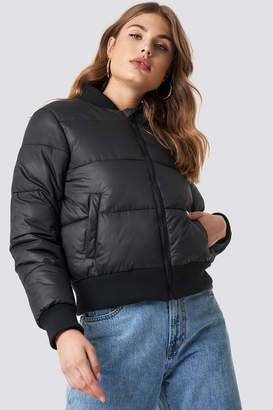 Na Kd Trend Ribbed Sleeve Puffer Jacket Black