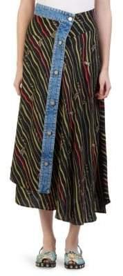 Loewe X Paula's Ibiza Mixed Media Flags Skirt
