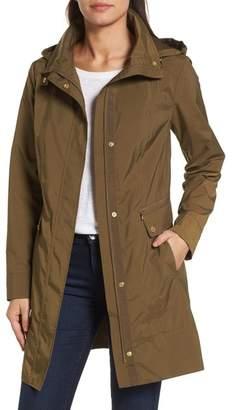 Cole Haan Back Bow Packable Hooded Raincoat (Regular & Petite)