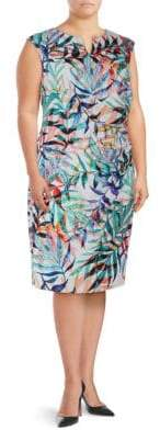 Adrianna Papell Plus Multicolored Leaf-Print Sheath Dress