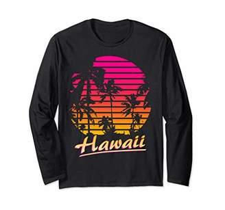 Cool Hawaii 80s Palm Trees Summer Sunset Long Sleeve T-Shirt