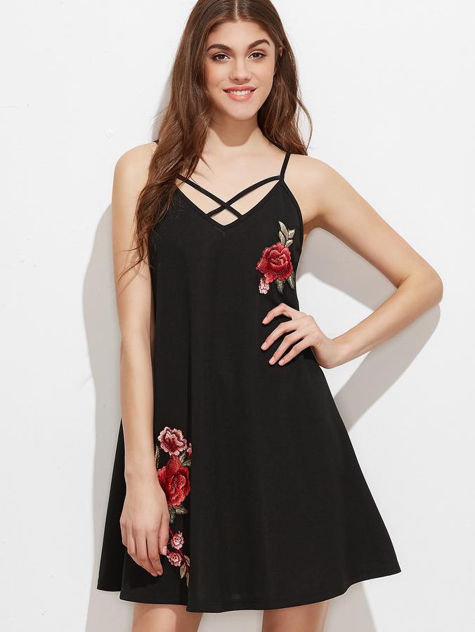 Crisscross V Neck Embroidered Applique Cami Dress