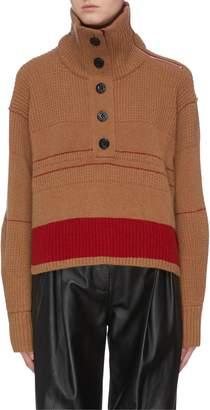 Sacai Logo intarsia cropped half-button high neck sweater