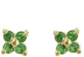 Ruta Reifen Green Clover Stud Earrings - Yellow Gold