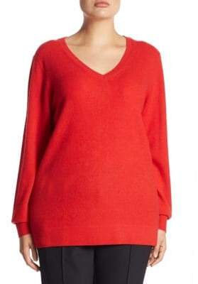 Saks Fifth Avenue Plus V-Neck Cashmere Knitted Sweater