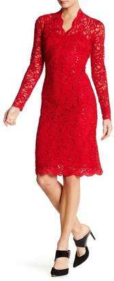 Marina Long Sleeve V-Neck Sequin Lace Dress $109 thestylecure.com