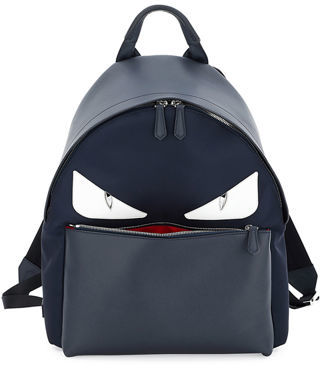 Fendi Monster Eyes Leather/Nylon Backpack $1,950 thestylecure.com